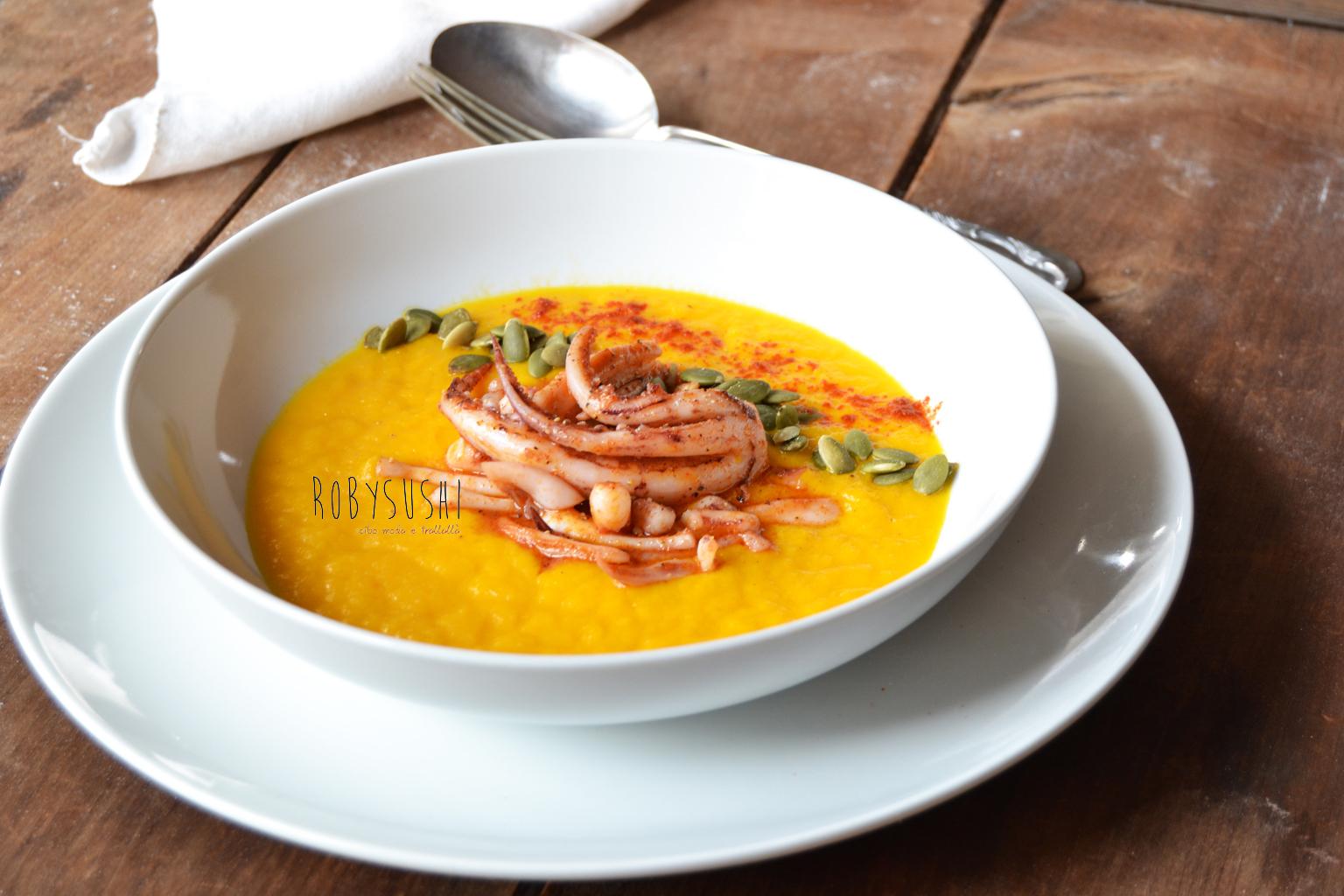 crema di carote con totani alla paprika (5)