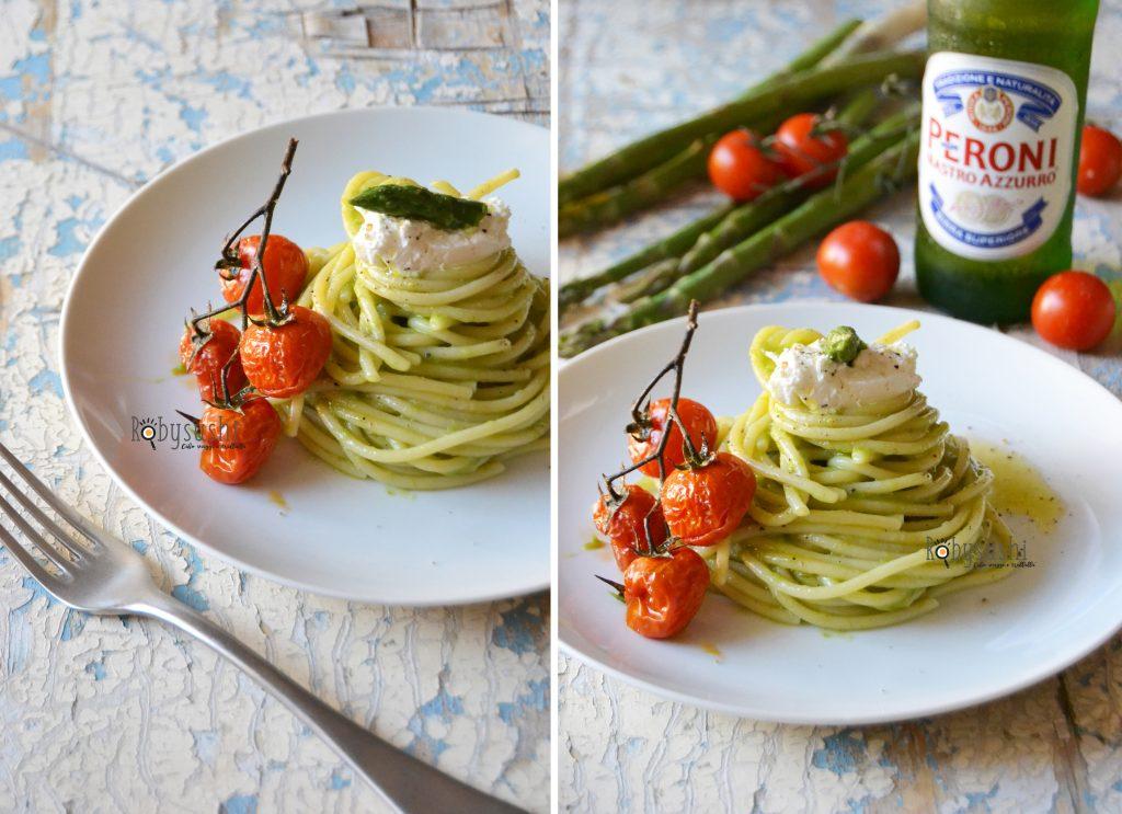 spaghetti con crema di asparagi