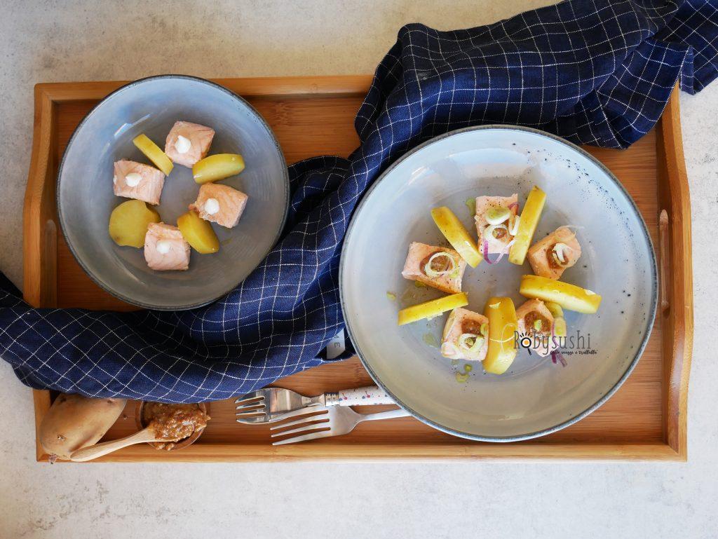 Insalata di patate e salmone